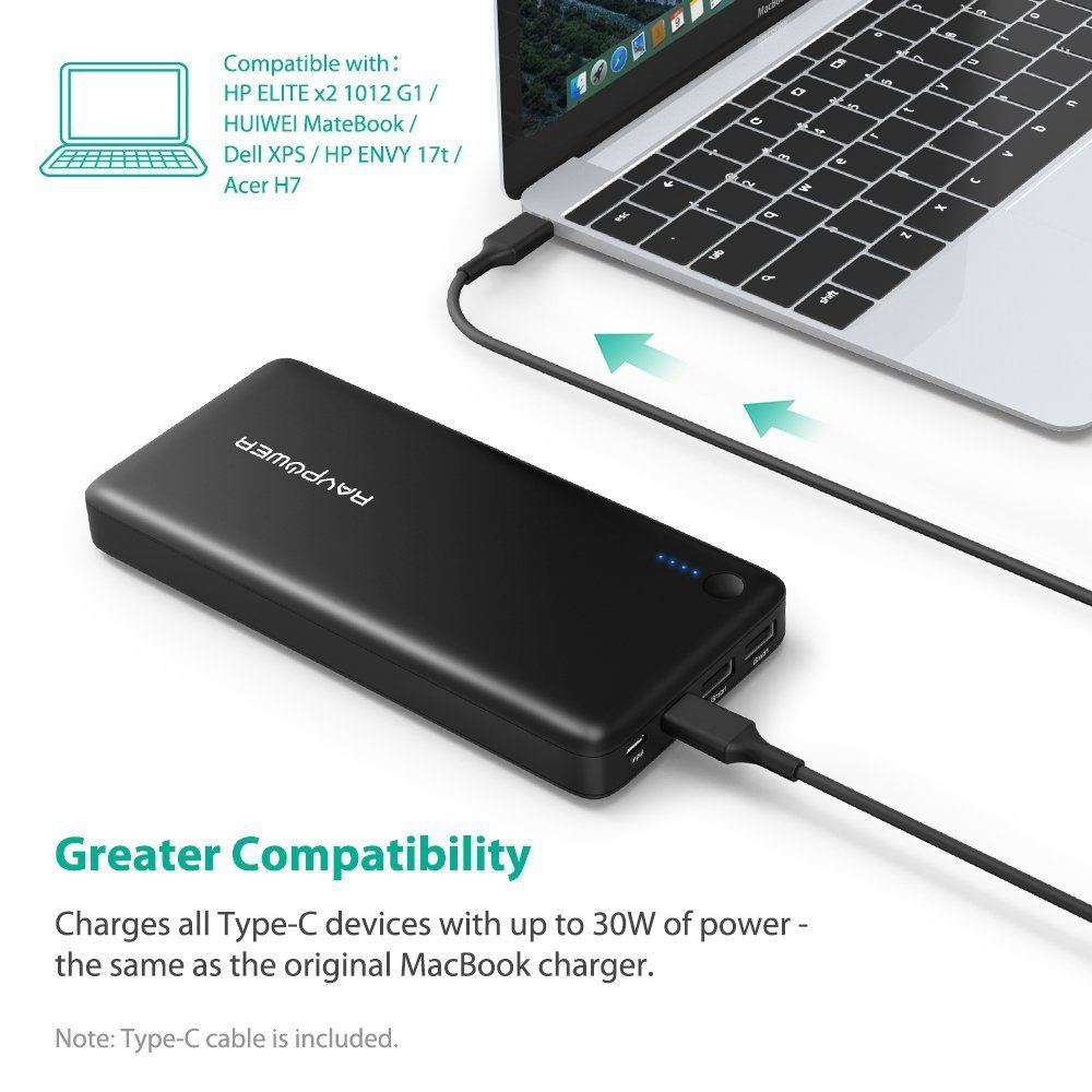 Ravpower Premium Portable Charger External Battery Usb Wall Xps Wiring Diagram Xtreme 26800mah Pd Power Bank With 30w C Output