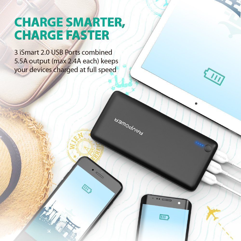 RAVPower - Premium Portable Charger, External Battery, USB wall
